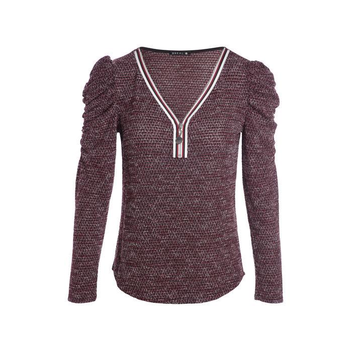 T-shirt col esprit tunisien zippé rouge femme