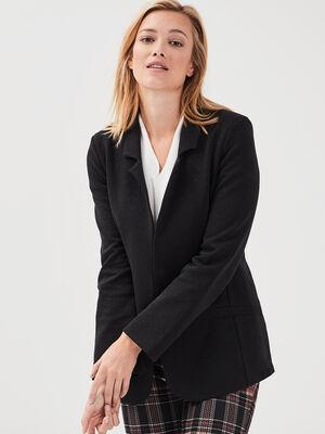 Veste cintree col crante noir femme