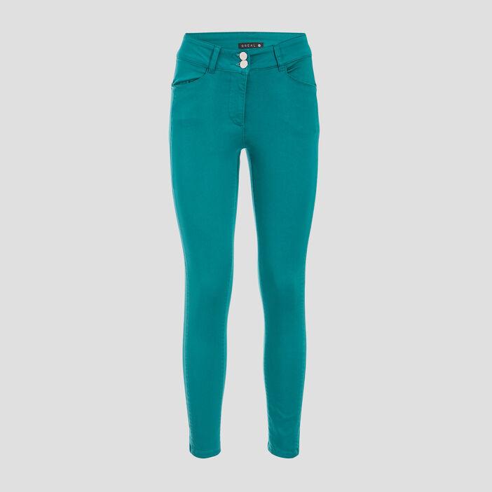 Pantalon ajusté taille basculée vert émeraude femme