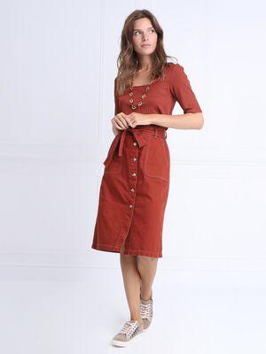 Jupe droite boutonnee marron cognac femme