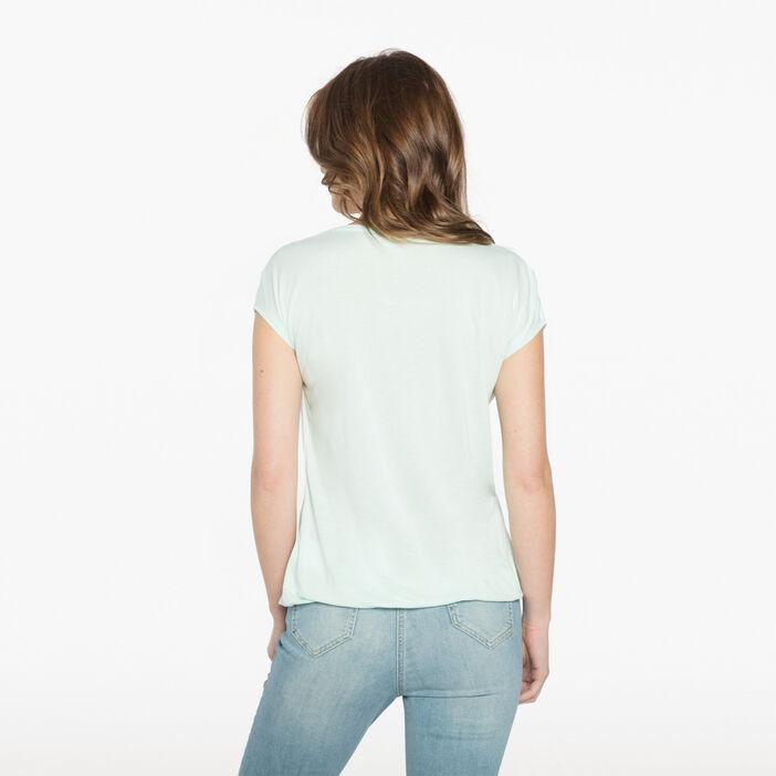 T-shirt imprimé oiseau ecru femme
