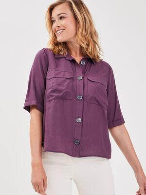 Chemise manches courtes violet fonce femme