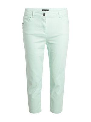 Pantacourt detail zip vert clair femme