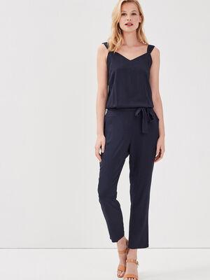Combinaison pantalon coupe fluide unie bleu marine femme