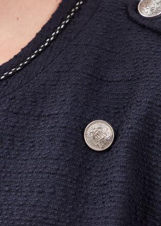 Veste droite a boutons bleu fonce femme