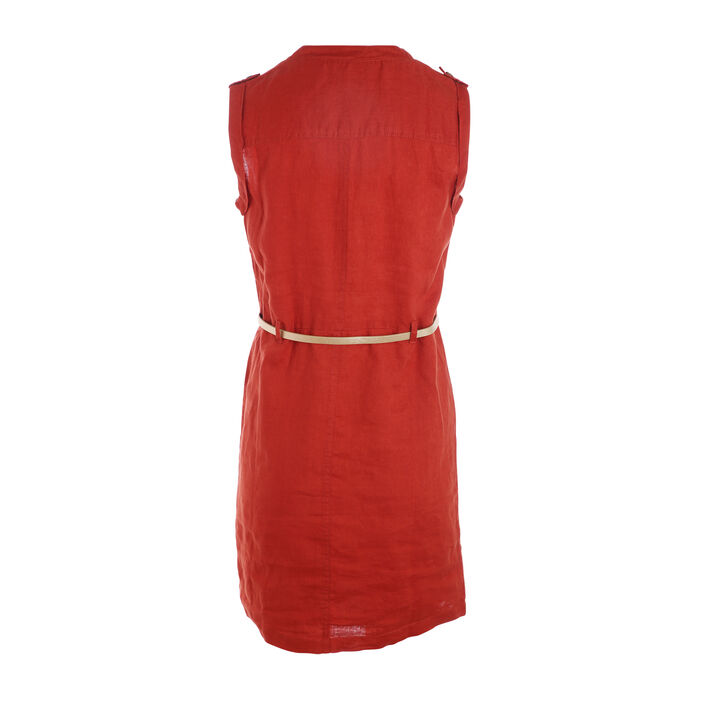 Robe courte ajustée à ceinture orange foncé femme