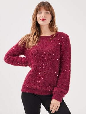 Pull manches longues a sequins rose framboise femme