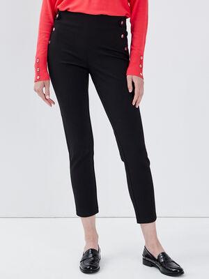 Pantalon tregging taille basculee noir femme