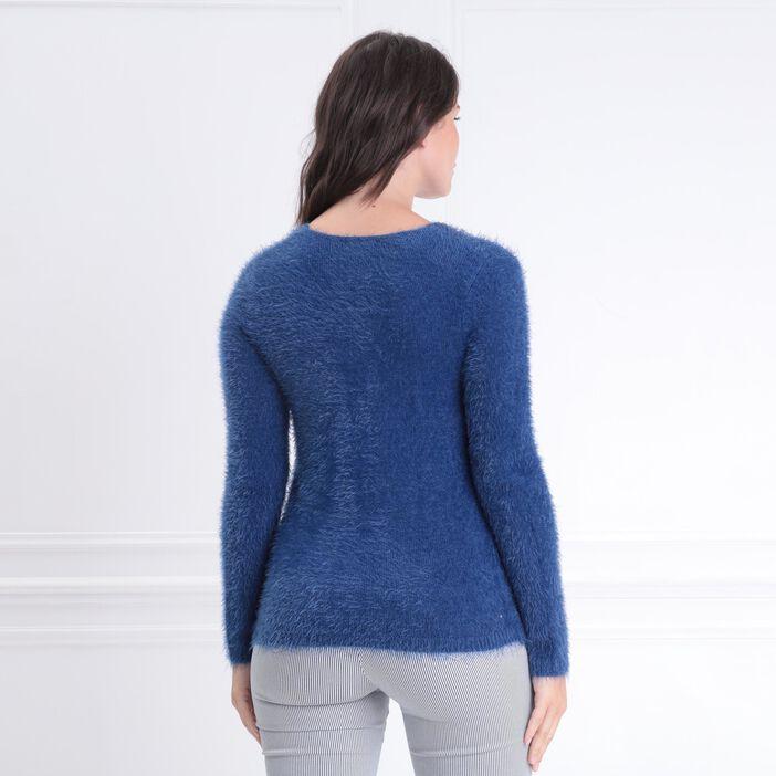 Pull manches longues zippé bleu roi femme