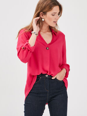 Blouse manches 34 boutonnees rose femme