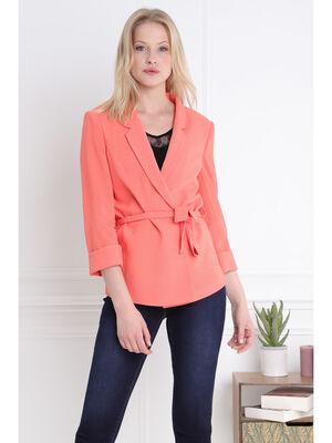Veste fluide ceinturee orange corail femme