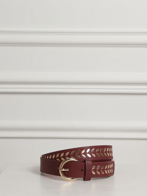 Ceinture lisse studs rouge fonce femme