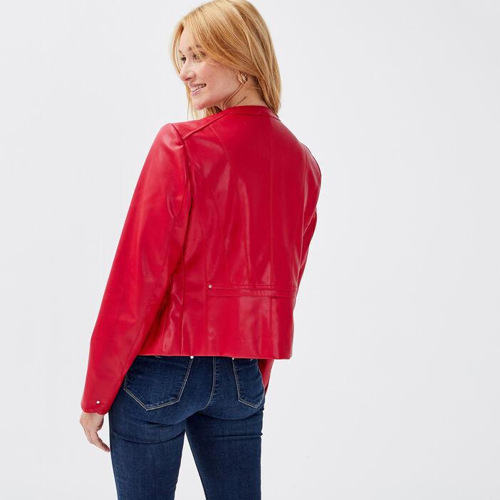 Veste cintrée zippée rouge foncé femme