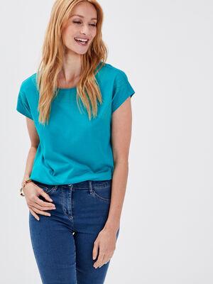 T shirt manches courtes vert emeraude femme
