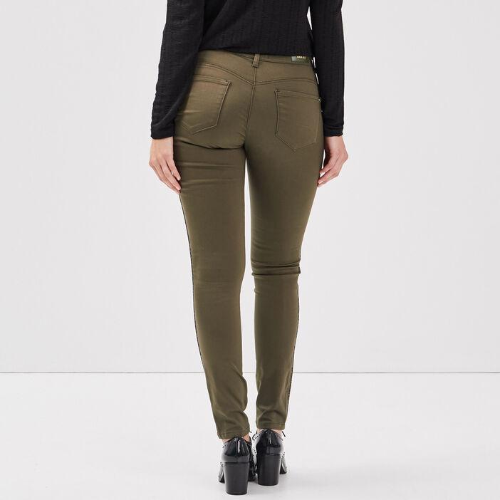 Pantalon près du corps vert kaki femme