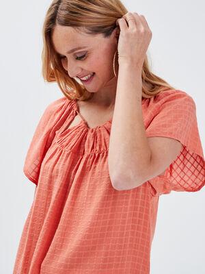 Blouse manches courtes orange fonce femme