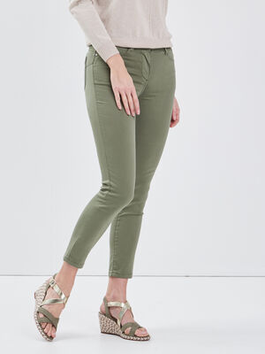 Pantalon ajuste taille standard vert kaki femme