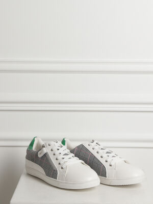 Baskets basses bimatieres blanc femme