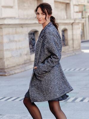 Manteau droit boutonne noir femme
