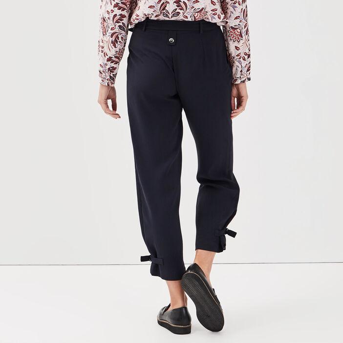 Pantalon flou taille standard bleu foncé femme