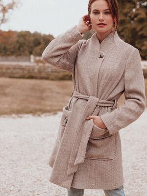 Manteau droit ceinture creme femme