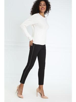 Pantalon taille standard ajuste clous noir femme