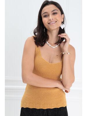 Debardeur bretelles fines jaune or femme