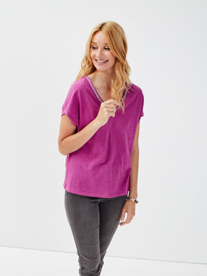 T shirt manches courtes prune femme