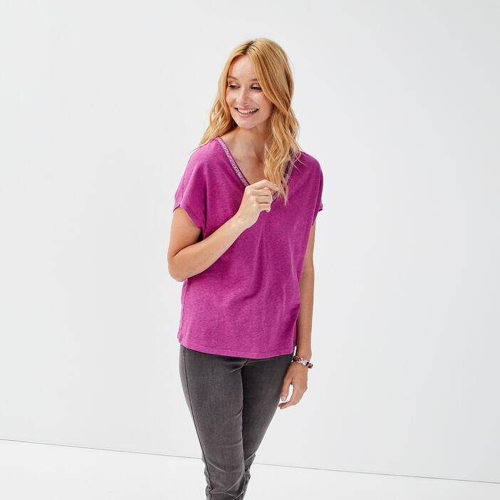 T-shirt manches courtes prune femme