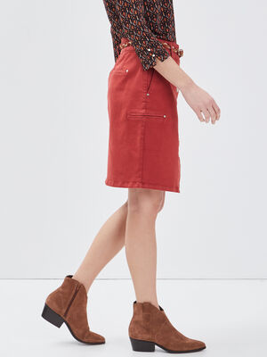 Jupe droite boutonnee rouge fonce femme