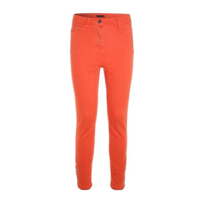 Pantalon ajusté taille haute orange corail femme