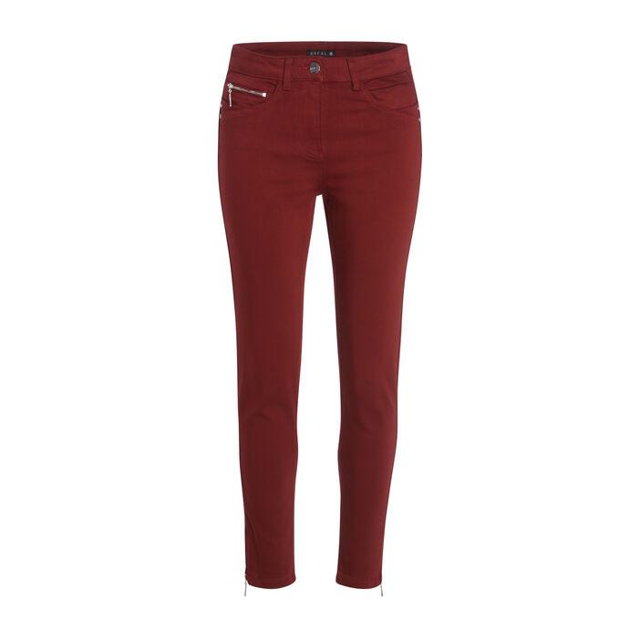 Pantalon ajusté taille haute rouge foncé femme