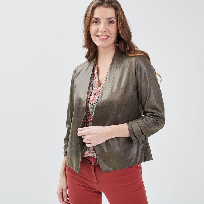 Veste droite col châle vert kaki femme