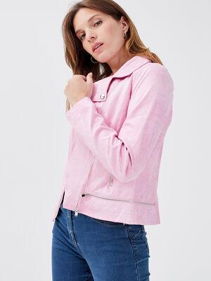 Veste esprit motard zippee rose corail femme
