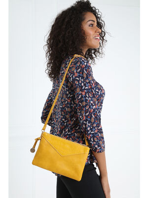 Sac pochette double zip jaune or femme