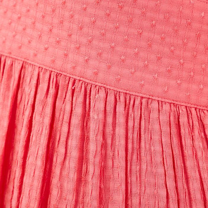 Robe midi évasée boutonnée rose femme