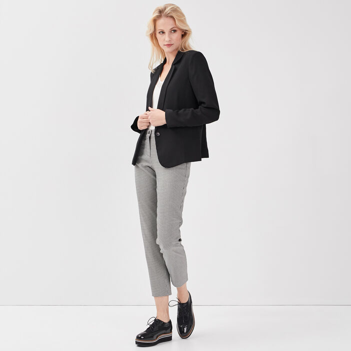 Pantalon droit taille basculée noir femme