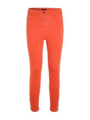 Pantalon ajuste taille haute orange corail femme