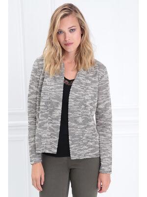 Veste cintree col ouvert gris clair femme