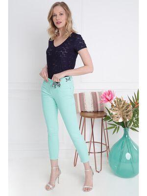 Pantalon ajuste ceinture foulard vert menthe femme