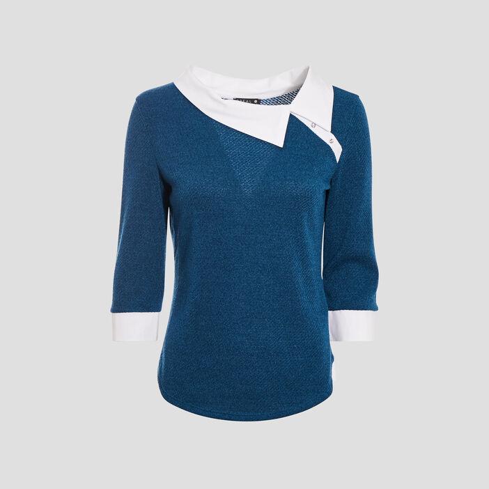 T-shirt manches 3/4 bleu pétrole femme