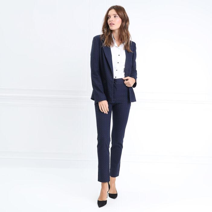 Pantalon droit taille basculée bleu marine femme
