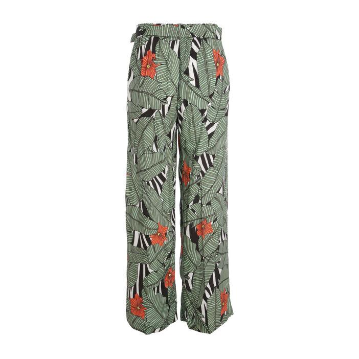 Pantalon flou taille haute vert femme
