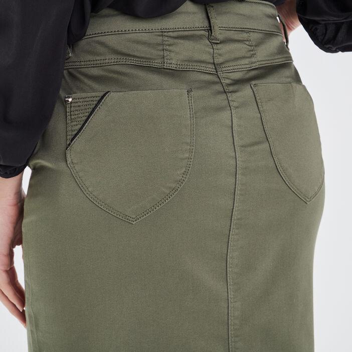 Jupe droite vert kaki femme