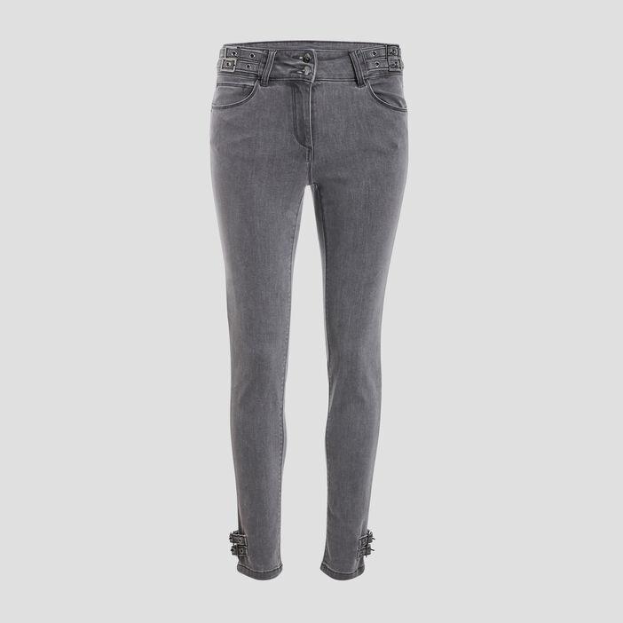 Pantalon ajusté avec boucles gris foncé femme