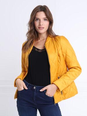 Doudoune cintree zippee jaune or femme