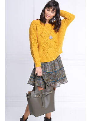 Pull manches longues torsade jaune or femme