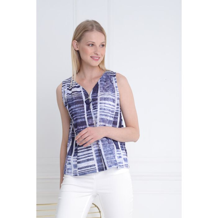 Débardeur col zippé bleu marine femme