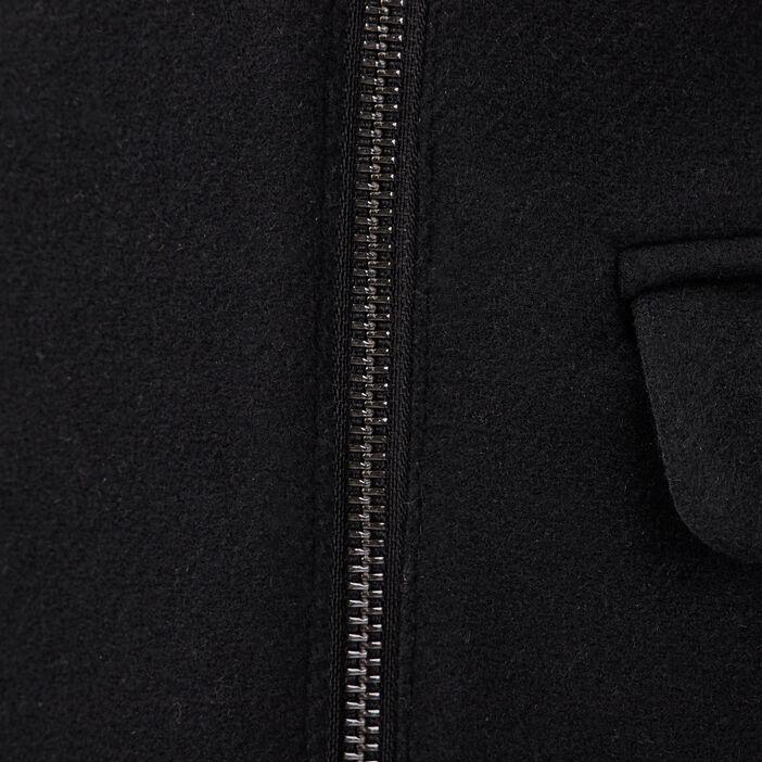 Manteau droit col à fourrure noir femme