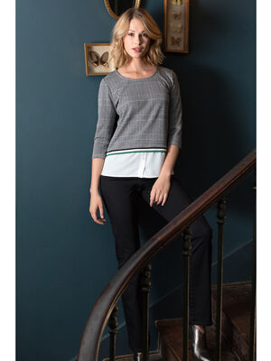 T shirt col rond imprime 2 en 1 gris fonce femme